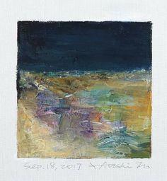 "Sep. 18, 2017 9 cm x 9 cm (app. 4"" x 4"") oil on canvas © 2017 Hiroshi Matsumoto"