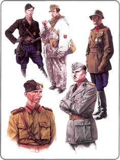 "Russian Liberation Army  1. Deputy Commander Colonel IK RNNA Sakharov, 1942    2. Lieutenant RNNA, 1942    3. Warrant Officer 1 - st Russian National Brigade SS 1943    4. tankman RONA Armored Division, 1943-1944.    5. Soldier ""Assault Brigade RONA"", 1944"