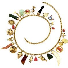 1850 1890 victorian watch fob bracelet jewelry fashion 1700 18k gold charm necklace with 18k and 14k gold charms aloadofball Image collections