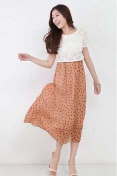 Baju Import Dress DS3120-White+Orange