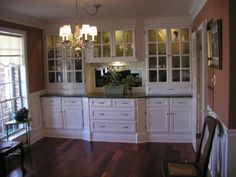 China/Storage Cabinet, Built-in china cabinet with plenty of storage. all wood with granite top, and lighted glass shelves. The dining table has been removed from photo in order to see the cabinet. Took about 5 weeks to complete (8 hour days). Im a New Orleans French Quarter artist, not a cabinet maker. I just enjoy woodworking., Dining Rooms Design