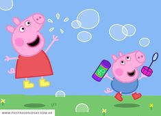Peppa and George blowing bubbles Peppa Pig Funny, Peppa Pig Memes, Peppa Pig Wallpaper, Funny Phone Wallpaper, Hd Wallpaper, Peppa Pig Painting, Peppa Pig Y George, Pippa Pig, Invitacion Peppa Pig