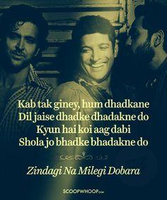 Follow the dhadhkan,kyunki zindagi na milegi dobara Best Movie Quotes, Book Quotes, Life Quotes, Famous Dialogues, Movie Dialogues, Hindi Shayari Inspirational, Beautiful Lyrics, Beautiful Lines, Song Lyric Quotes