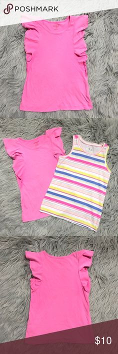 Circo pink & striped tank top bundle of 2 •Circo bundle of 2 tank tops: 1 pink with big ruffles, & 1 yellow, blue, pink racerback tank tops  •Pink tank top EUC, striped tank top like new •Size 7-8  •I am a: Posh Ambassador, top 10% seller, top rated seller, Posh mentor & ship same day/next day!  ⭐️❤️FREE Matching hair accessory with purchase!❤️⭐️ •Comes from smoke & pet free home •Browse my closet for dozen of amazing designers such as.. tucker + Tate, Tea Collection, Mini Boden, UGG, GAP…