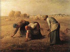 The Gleaners c. 1857 Artist: Millet Period: Realism Millet was a member of the Barbizon school of painting, painted rural towns. shows the nobility of the poor, the nobility of hard work. Seen by the public as a socialist painting. Google Art Project, Millet The Gleaners, Millet Paintings, Art Paintings, French Paintings, Paintings Famous, Famous Artists, Jean Francois Millet, Barbizon School