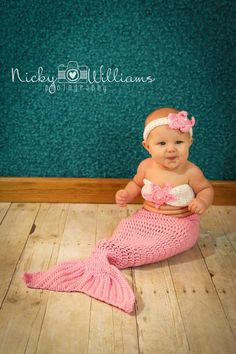 Crocheted Mermaid Outfit. Photo Prop. Hand Made. Preemie to Toddler Sizes. on Etsy, $34.00
