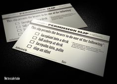 250 Cards  Permission Slip by Aibrean on Etsy, $65.00 Also available in 100 and 500 count.