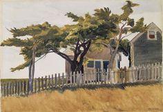 "Edward Hopper ""Locust Trees"", 1932 (by BoFransson) American Realism, American Artists, Manet, Edouard Vuillard, Klimt, Toulouse, Edward Hopper Paintings, Landscape Paintings, Landscapes"