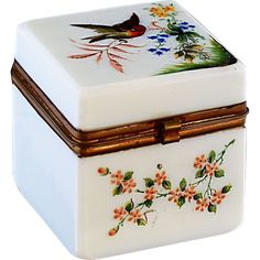 Antique white Opaline glass with enamel hand painted flowers and bird, hinged lid, Shop Rubylane.com