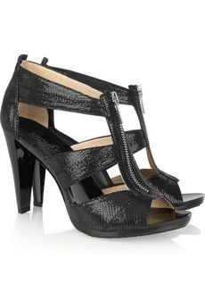 MICHAEL Michael Kors - Berkley glossed lizard-effect suede sandals Shoes Too Big, Michael Kors, Marc Jacobs Bag, Suede Sandals, Girls Best Friend, Peep Toe, Pairs, Purses, My Style