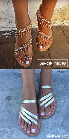 2018 Women's Beach Sandals Trendy Fashion Shoes For women. Cute Sandals, Sandals For Sale, Cute Shoes, Me Too Shoes, Shoes Sandals, Heels, Flat Shoes, Leather Sandals, Pearl Sandals