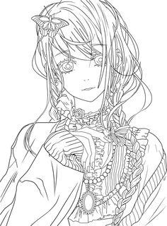 Cute Girl Lineart by FabiNeko.deviantart.com on @DeviantArt
