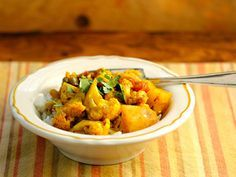 Recipe for slow cooker aloo gobi (spiced cauliflower and potatoes) {vegan, gluten-free} {The Perfect Pantry}