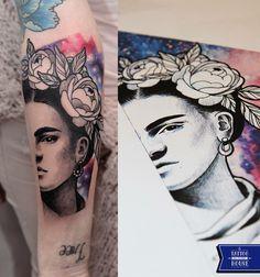 #frida #kahlo #portrait #tattoo #flowers #galaxy