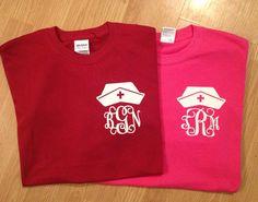 Nurse initial shirt by sewthankful1 on Etsy, $16.00
