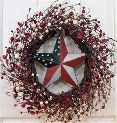 Americana Wreath - Red Heart \u0026 Berry Wreath - Front Door Wreath - Pip Berry Wreaths & Patriotic Wreath - Window Wreath - 4th of July Wreath - Summer Decor ...