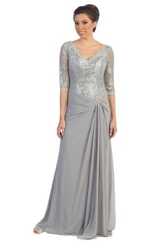 Long Mother of the Bride Plus Size Formal Evening Gown