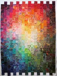 Batik Rectangle Colorwash No. 4 Quilt Top - Ready to Finish — Exuberant Color Collages, Charm Square Quilt, Watercolor Quilt, Rainbow Quilt, Rainbow Art, Narcissus Flower, Quilt Modernen, Fabric Decor, Fabric Crafts