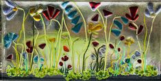 After firing - fused glass wild flowers