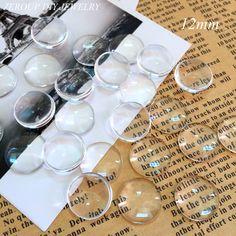 50 unids/lote 12mm Hecho A Mano Accesorios de La Joyería Cabochon de Cristal Claro Transparente de Metal Con Tapa Redonda Suministros de joyería