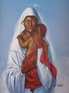 Black Madonna by Henry C. Porter is a work of art highlighting Mary in a white robe with a halo around her head as she holds an infant Jesus to her chest. Madonna Und Kind, Lady Madonna, Madonna And Child, Blessed Mother Mary, Blessed Virgin Mary, Catholic Art, Religious Art, Religious Icons, Arte Lowbrow