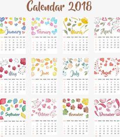 Calendário de Mesa,Almanaque de,O aquarela Pintado à mão,O Amor,As folhas,Flores,O Amor,Tonturas.,Modelo de calendário,2018,Calendário,Calendário de 2018