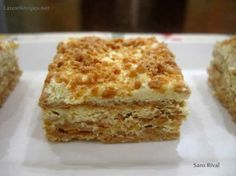 sans rival - Filipino buttercream cake with cashews Filipino Dishes, Filipino Desserts, Asian Desserts, No Cook Desserts, Filipino Recipes, Just Desserts, Delicious Desserts, Dessert Recipes, Filipino Food