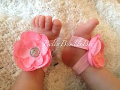 Pink Baby Barefoot Flower Sandals for Newborn Baby or Toddler Girls / Baby Booties Sandles, Shoes, Clothing Accessory, Satin Strap Bling by BellaBumbleBee, $10.95