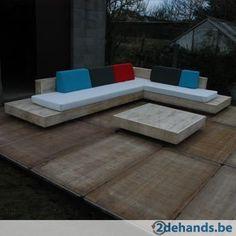 design loungeset / lounge bank / lounge meubel in accoya hout kan ook in gebruikt steigerhout (foto Meer info: www. Outdoor Couch, Diy Outdoor Furniture, Deck Furniture, Outdoor Lounge, Outdoor Rooms, Pallet Furniture, Outdoor Living, Outdoor Decor, Deck Seating