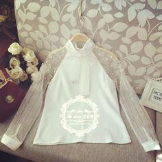 Aliexpress.com: Comprar 2015 primavera elegante del organza arco de perlas blanco blusa ocasional de la camisa de moda camisa de gasa mujer blusas tops blusas femininas de camisa de chapa confiables proveedores de 2015 Women Fashion.