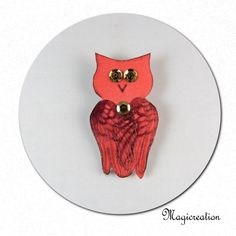 broche hibou de soie rouge - Boutique www.magicreation.fr