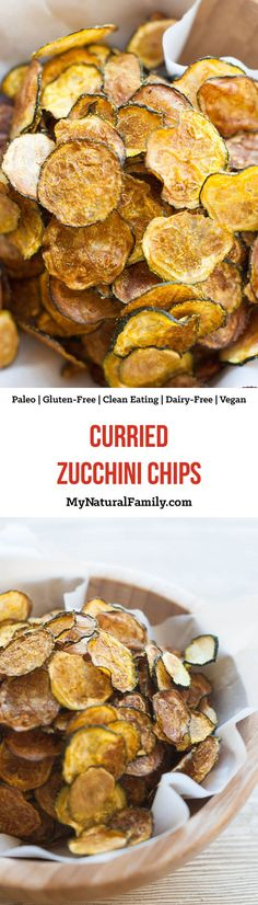Curried Baked Zucchini Chips Recipe {Paleo Gluten Free Clean Eating Dairy Free Vegan - 5 simple ingredients and an oven on low heat is all you need! Low Carb Recipes, Whole Food Recipes, Vegetarian Recipes, Snack Recipes, Cooking Recipes, Slow Cooking, Clean Eating Vegetarian, Dairy Recipes, Vegan Clean
