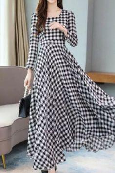 2021 Korea Vintage Plus Size Midi Dress Autumn Winter Chiffon Plaid Casual Dress Elegant Women Full Sleeve Party Bodycon Vestido Modest Dresses, Fall Dresses, Elegant Dresses, Dresses With Sleeves, Long Dresses, Elegant Woman, Vestidos Plus Size, Style Japonais, Robes Midi