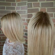 Rooted blonde shadow root natural root color melt lob haircut