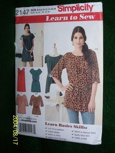 SIMPLICITY PATTERN LEARN TO SEW #2147A MISSES' MINI-DRESS OR TUNIC AND BELT -NIP