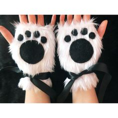 Cute White Furry Panda Polar Bear Arctic Cat Fox Wolf Paw Print... ($39) ❤ liked on Polyvore featuring accessories, gloves, fox gloves, white gloves, white fingerless gloves, panda gloves and bear gloves