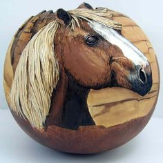 Horses - by Phyllis Sickles© One of the best sites to visit for travel Decorative Gourds, Hand Painted Gourds, Four Seasons Painting, Gourds Birdhouse, Different Kinds Of Art, Sea Glass Crafts, Bubble Art, Gourd Art, Rock Art