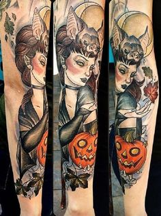 A beautiful witch with a bat Halloween tattoo design. Witches and bats come together perfectly in Halloween as they give you the creeps and at the same time the mystical feeling that Halloween brings. Pretty Tattoos, Beautiful Tattoos, Cool Tattoos, Awesome Tattoos, Art Tattoos, Halloween Half Sleeve Tattoos, Halloween Tattoo, Halloween Night, Tattoo People