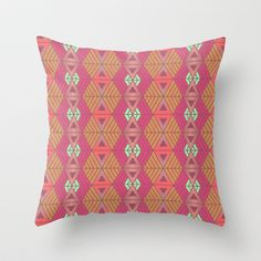 African Geometric Throw Pillow by Kimsa