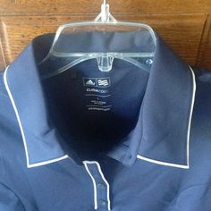 Adidas Navy Top (L) Navy Top with white piping.  Sleeveless.  Partial button down with collar.  Cool Fit Adidas Tops Blouses