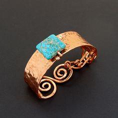 Copper and Aqua Sea Sediment Jasper Cuff Bracelet Copper Cuff, Copper Bracelet, Metal Bracelets, Copper Jewelry, Wire Jewelry, Jewelry Bracelets, Artisan Jewelry, Handmade Jewelry, Unique Jewelry