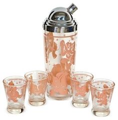 Pink Elephant Cocktail Shaker Set, S/5