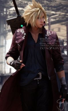 """""""""""What a merc. Final Fantasy Cloud, Final Fantasy Artwork, Final Fantasy Characters, Final Fantasy Vii Remake, Video Game Characters, Fantasy Series, Cloud And Tifa, Cloud Strife, Devil May Cry"""