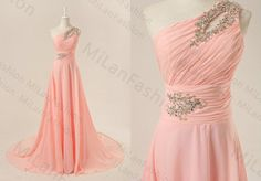 Prom Dress Blush Bridesmaid Dress Floor-Length Prom Dresses One Shoulder Bridesmaid Dresses Wedding Party Dress on Etsy, $169.00