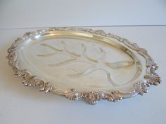 Lovely Vintage PS Silver on Copper Silverplate Footed Meat Tray with Ornate Edge - PS Silver on Copper - Meat Serving Tray - Serving Tray by SecondWindShop on Etsy