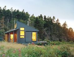 Tiny Off-Grid Cabin in Maine is Completely Self-Sustaining Maine Coast Retreat Inhabitat - Sustainable Design Innovation, Eco Architecture, Green Building Style At Home, Off Grid Cabin, Off The Grid Homes, Off Grid House, Casas Containers, Shed Roof, Porch Roof, Tiny House Movement, Cabins And Cottages
