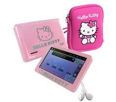 """Mit dem tragbaren Mediaplayer Hello Kitty von INGO können Kinder Bilder und Videos anschauen und Musik hören.  Das Abspielgerät verfügt über ein 10,9 cm (4,3"""") großes Display, eine Speicherkapazität von 4 GB und wird mit Ohrhörern geliefert."""