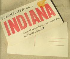 Indiana Love Postcard by WildLittleGoose on Etsy