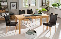 Die Essgruppe besteht aus einem Tisch und vier Stühlen. Die Stühle sind mit pflegeleichtem Kunstleder bezogen. Die Stuhlbeine, sowie der Tisch sind aus FSC®-zertifizierter, massiver Kiefer gefertigt. Die Schubladen im Tisch bieten einen nützlichen Stauraum.   Details zum Tisch:  Mit 3 Schubladen,  ca.-Maße:  Maße (B/T/H): ca. 160/80/76 cm, 76 cm Tischhöhe, 2 cm starke Tischplatte, Alles ca.-Maß...