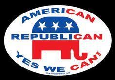 """REPUBLICAN AMERICAN 4""""x6"""" BUMPER STICKER decal sign gop anti-obama nobama"""